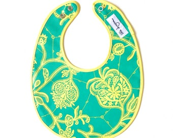 Turquoise Green and Lemon Yellow Amy Butler Lark Floral Laminated Cotton Bib