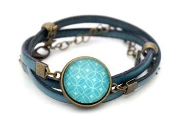 "Leather Bracelet turquoise cabochon ""shapes geometric Turquoise"" retro vintage MULTISTRAND adjustable three rows"