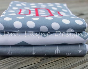 Monogrammed Burp Cloths- Set of 3     Gray and White Burp cloths, Gender Neutral burp cloths, Monogrammed Baby Gift