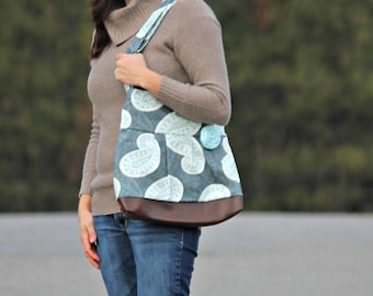 CHRISTMAS SALE Conceal Carry Purse, Medium Messenger Bag, Paisley Handbag, Grey and Aqua, Conceal Carry Handbag, Concealed Carry Purse, Conc