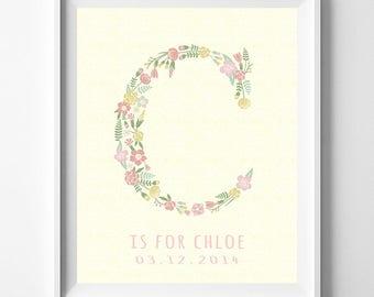 Nursery Name Print, Baby Artwork, Children Room, Monogram Alphabet, Monogram Art, Christina, Chelsea, Christine, Camile, Valentines Day Gift