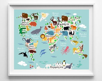 Animal World Map Poster, World Map Art, Animal Print, Animal Nursery Decor, Kids Room Decor, Baby Room Poster, Type 1, Halloween
