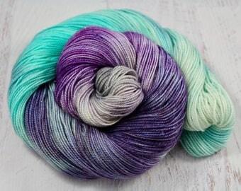 Ooh, A Pretty Rock! -READY TO SHIP Sparkle Glitter Sock Yarn 100g 435y 75/20/5 Superwash Merino Nylon Stellina - purple, silver, blue, cream