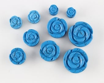 Blue Carved Rose Stone Plugs for Stretched Ears - PB44