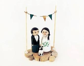 Wedding Cake toppers / wedding figurines / Family figurines wedding / cake topper / Family Peg doll - To customize