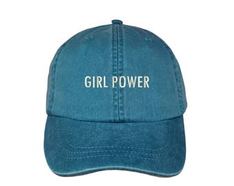 """GIRL POWER Washed Dad Hat, Embroidered """"Girl Power"""" Feminism Hat, Low Profile Girl Gang Feminist Baseball Cap Hat, Teal Blue"""