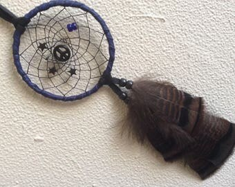 Car Dream Catcher, Gemstone Peace Sign and Stars, Small Black and Purple Leather Dream Catcher,  Hippie Dream Catchers, Gifts for Him,