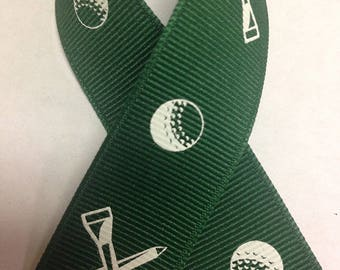 "7/8"" Forest Green Grosgrain Golf Ribbon"