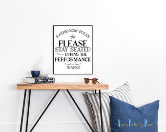 Bathroom Sign Please Be Seated 8X10 and 11X14 Printable Art   Bathroom Poster  Print For the Bathroom   Bathroom Sign  Funny Bathroom Sign
