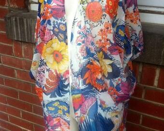 Tropical chiffon kimono cardigan Small to Xl