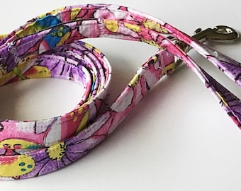 Purple and Pink Floral Dog Leash in 4, 5, or 6 Foot Lengths