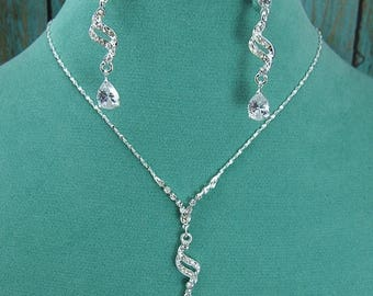 SALE Ends Monday Crystal Rhinestone CZ Jewelry Set, Crystal Wedding Necklace Set, bridal jewelry set, wedding jewelry, bridesmaid jewelry se