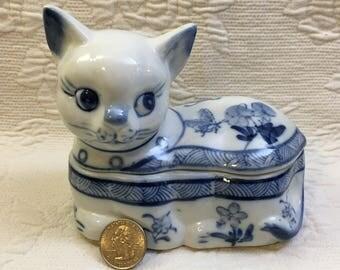 Cobalt Blue On White Porcelain Cat Trinket Box, Hand Painted Cat Treasure Box, Blue on White Kitty Ceramic Box