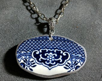 Broken China Plate Blue Willow Necklace