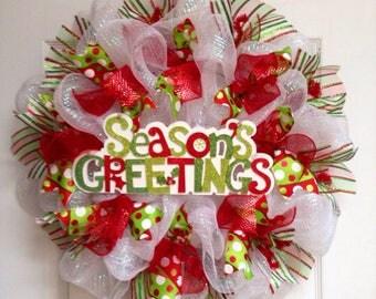 Seasons Greetings Handmade Deco Mesh Holiday Wreath