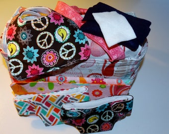 Doll diaper bag changing pad diaper bib wipes set girl velcro closure perfect gift