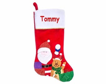 Personalized Christmas Stocking , Embroidered Christmas Stocking ,  Monogrammed Christmas Stocking , Santa Stocking , Reindeer Stocking