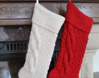 SET of 2 Christmas Stocking Personalized Christmas Stocking Christmas decoration Hand knit Christmas Stocking,Knitted Christmas Stocking