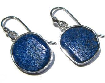 azurite earrings  silver 925%
