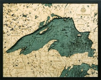 Lake Superior Wood Carved Topographic Depth Map