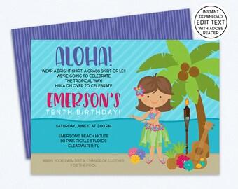 Luau Invitation / Hawaiian Invitations / Luau Birthday Invitation / Luau Party / Luau Party Invitations / Luau Invite / Luau Birthday | 80