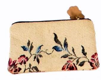 Vintage 1940s Prentice Tapestry Floral Clutch Bag