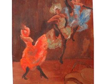 "Santa Graziani Expressionist Painting  ""Dancers"" 12""X13"""