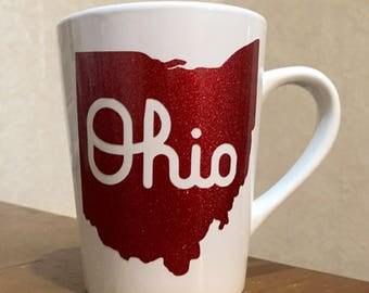 Script Ohio State Red Glitter Coffee Mug