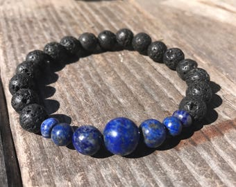 Lava stone and lapis lazuli  ! Rare