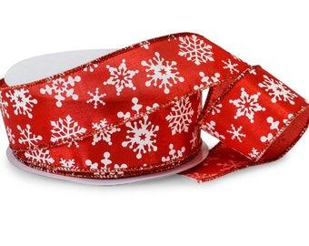 Red White Snowflake Ribbon, Christmas Ribbon, Satin Wired Ribbon, Floral Ribbon, Wreath Ribbon, Christmas Tree Ribbon