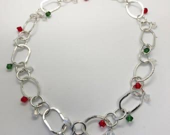 "18"" Swarovski crystal Christmas necklace"