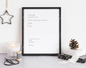 """Frame mockup - Stock photography - black - 8x10"""" - JPEG + PSD + Png files included - Autumn - Christmas - Natural Christmas styled"""