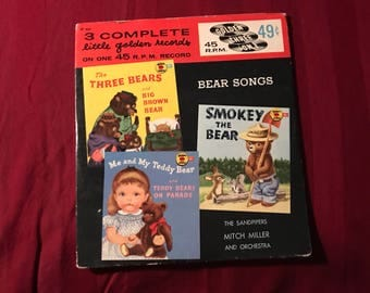 Golden Record Bear Songs Three On One Yellow 45 RPM Mitch Miller Antique Baby Nursery Songs 1950s Sandpipers lcww