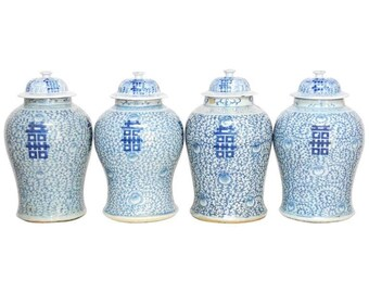 Pair of Chinese Blue and White Ginger Jar Vases