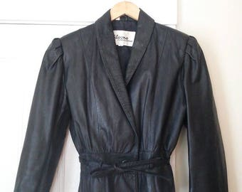 GEMINI SALE Vintage Wilson Leather Fitted Black Leather Moto Jacket / Size S/M / Vintage Women's Size 12