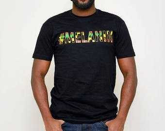 Akono Men's Melanin African Print T-Shirt (Yellow/Black Kente) S-3XL