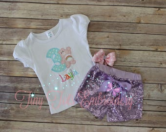Cheer Bear Birthday Outfit ~ Care Bear Outfit ~ Includes Top, Sequin Shorts and Hairbow ~ Customize in any colors!