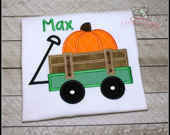 Boys Pumpkin Wagon Bodysuit or Shirt, Personalized Pumpkin Wagon Bodysuit or Shirt, Fall or Thanksgiving, Embroidered or Applique Shirt