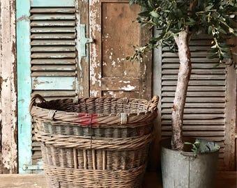 Rustic vintage French log basket