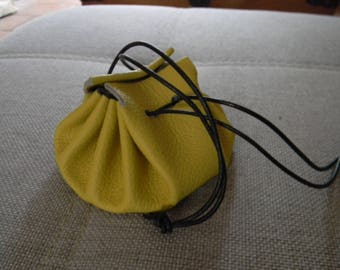Lemon yellow leather purse
