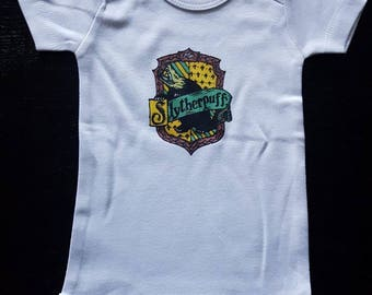Slytherpuff Harry Potter Inspired Cross-House Crest Baby Onesie