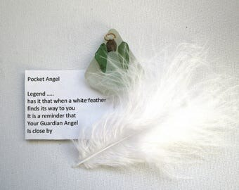 Pocket Angel - Inspirational Quote - Sea Glass - Guardian Angel - Spiritual - Mystical - Protection Angel - Get Well Gift - Gift Ideas