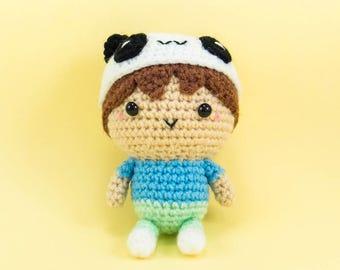 Boy with Panda Hat Amigurumi Crochet Doll Plush  -- Kids Room Decor/ Home Decor
