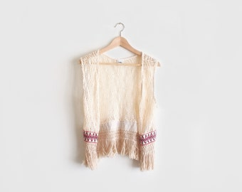 vintage fringy knit vest