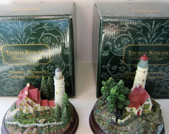 2 Thomas Kinkade Lighthouses ~ Clearing Storms and Beacon of Hope