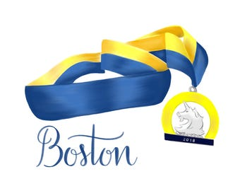 Boston Marathon 2018 Digital 8x10 Printable Art | Printable Running Gifts