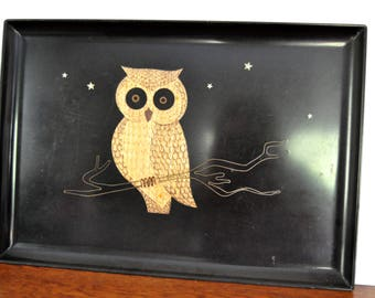 Vintage Couroc Owl and StarsTray, Inlaid wood and enamel