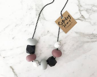 Mixed Plum + marble necklace
