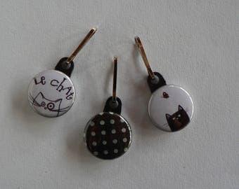 Zipper Zip Strap Badge set of 3 cat black and white zipper.