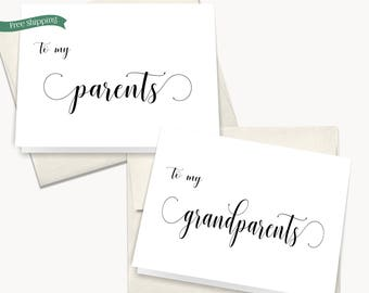 To my Parents on my Wedding day card, To my Mother on my Wedding day Card, Family wedding day cards, Wedding thank you notes, Set of 2